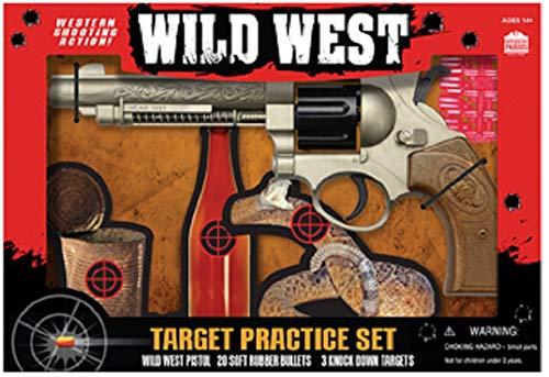 Wild WEST Pistol 3 Target Practice Set with 20 Rubber PELLETS