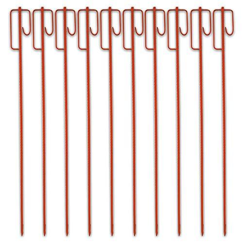 UvV UVHLT150 Absperrhalter 1,48 m lang, 16 mm stark rot lackierte Absperrleinenhalter Stahl für Bauzaun, Fangzaun, Flatterband, Warnband (10)
