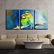 "wall26 - 3 Piece Canvas Wall Art - Original Oil Painting of Blue Tailed Bee Eaters, Song Birds on Canvas.Modern Impressionism - Modern Home Art Stretched and Framed Ready to Hang - 16""x24""x3 Panels"
