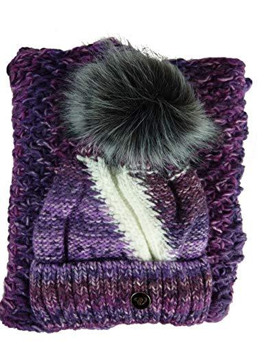 Tammy Damen Strickset Mütze + Schal, Beanie mit Fellbommel (kein Echtfell) + Schlauchschal, Einheitsgröße (violett lila Flieder) Veilo 34.54