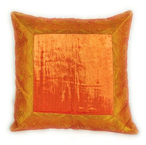 Housse de coussin 60 x 60 cm style oriental indien, Textile, Orange, 60 x 60 cm