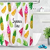 taquxinlaowan Set de Cortinas de Ducha Summer Time Acuarela Helado Piña Limón Baño Mat