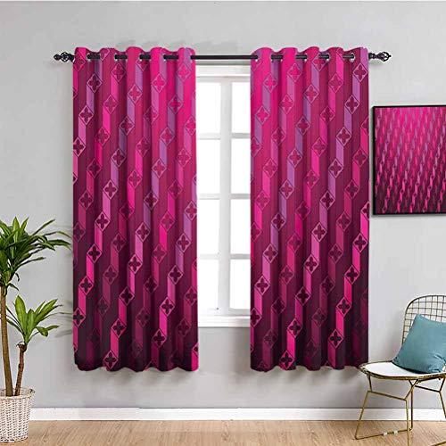 Cortinas de decoración magenta para dormitorio con diseño de rayas psicodélico, degradado, retro, estructurado, cuadrícula de arte, cortina de café, Taffy Rouge 63 x 63 pulgadas
