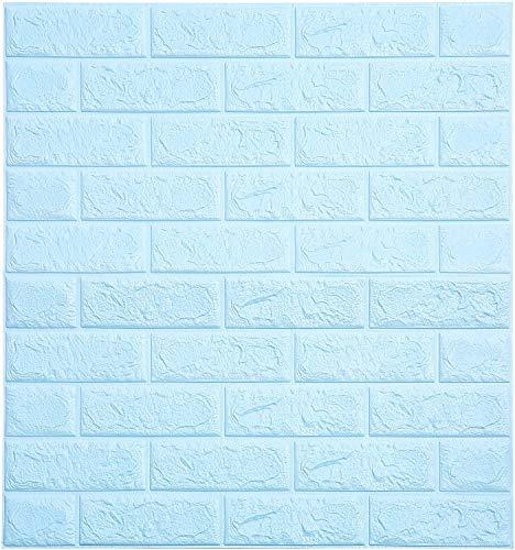 Soontrans 3D Tapete Steinoptik Ziegel Tapete Vliestapete Selbstklebend Wandpaneele für Badezimmer Balkon Raufasertapete Küchen Fliesen, 77 x 70 cm (10 Stk, Blau)