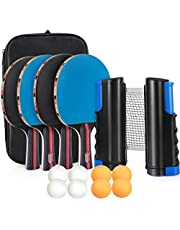 Sets de Ping Pong, Tencoz Raquetas de Tenis de Mesa con 4 Palas de Ping Pong Profesional, 8 Pelotas de Ping Pong, Red de Tenis de Mesa para Interior y Al Aire Libre