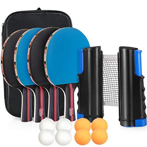Tencoz Tischtennis Set, Ping Pong Set Table Tennis Set Tischtennisschlaeger Set mit Tischtennisnetz, Tischtennisschläger Set mit 4 Schläger und 8 Bällen Outdoor Indoor für Amateure Anfänger