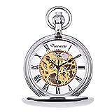 TREEWETO Reloj de bolsillo plateado con esfera de esqueleto, movimiento mecánico con cadena + caja...