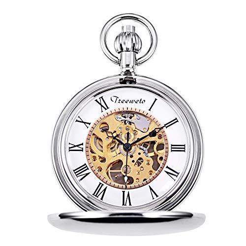 Treeweto - Reloj de bolsillo mecánico con cadena, Plateado