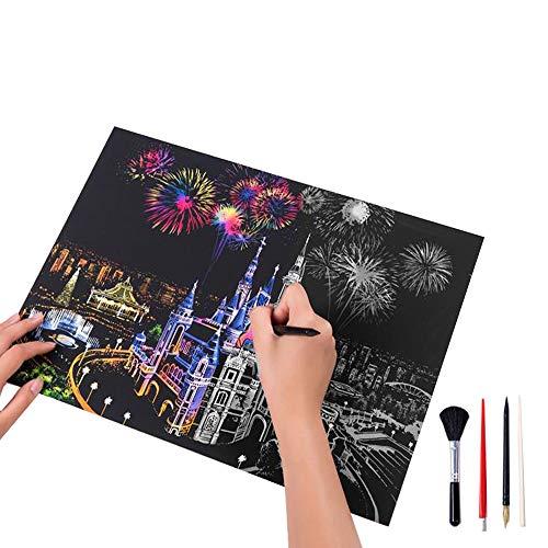 Magic Scratch Rainbow Art Paper Nightscape Dream Castle Patrón DIY Tablero De Pintura Bloc De Notas con la Herramienta Stylus De Madera Niños Estudiantes Adultos