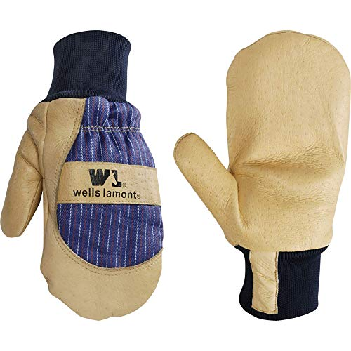 Men's Leather Palm Thinsulate Winter Mittens (Wells Lamont 5135XL), Tan, X-Large