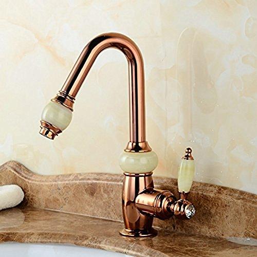 SLT-Wasserhahn Waschtisch Armatur Ziehen - Kupfer Kalter Tropischer Sprinkler Einziehbaren Shampoo Rose Gold Jade Armaturen
