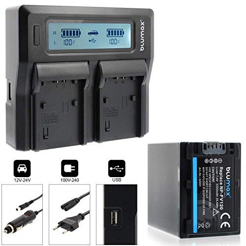 Blumax Akku NP-FV120 3300mAh + Doppelladegerät NP-FV120 Dual Charger | Passend zu Diversen Sony Kameramodellen | 2 Akkus gleichzeitig Laden