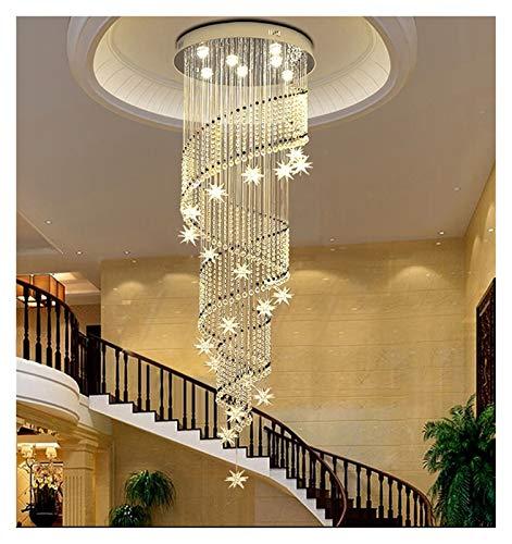 RXZUIWEI Iluminación de Techo Moderna araña de Cristal de la Luna y de la Estrella diseño de la Forma de Espiral arañas de lámparas de iluminación del vestíbulo de Escalera Interior