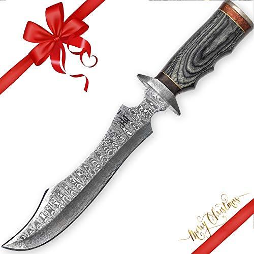Hobby Hut HH-102, handgefertigt 35.5 cm damast jagdmesser mit lederscheide, damastmesser jagdmesser, Bowiemesser, Pakka Holzgriff Handle