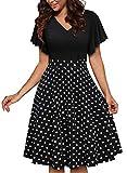 YATHON Women's Elegant Flutter Sleeve Pockets Flared Swing Casual Cocktail Party Dresses (L, YT063-Black Dot P1)
