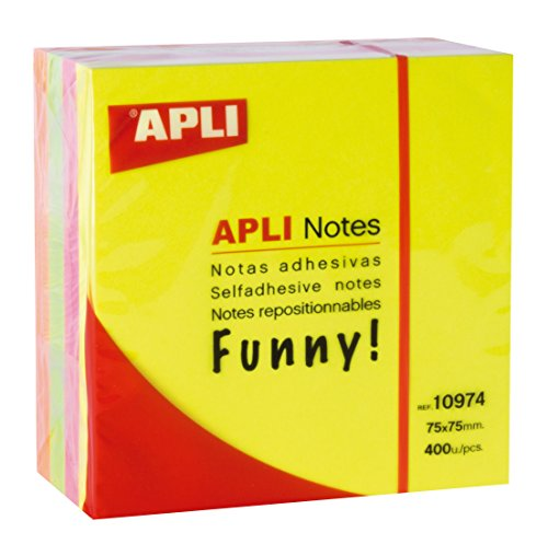APLI 10974 - Notas adhesivas FUNNY 75 x 75 mm cubo de...