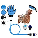 Abhsant Rubber Shower Sprayer and Scrubber in-One Pet Bathing Tool with Gloves for Tub and Outdoor Garden Hose Pipe for Dog Cat (Medium, Blue)