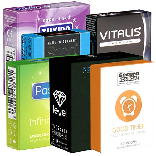Der Kondomotheke® Long Love SIXPACK - 6 Probierpackungen aktverlängernde Kondome für längeres Durchhaltevermögen - Länger Liebe machen - Orgasmus verzögern - Mehr Standfestigkeit, 20 Kondome