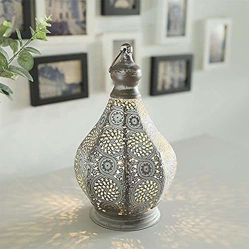 JHY DESIGN Lámpara de mesa 30cm de metal alimentada por batería Estilo Marroquí-árabe Decorativo la mesa lámpara inalámbrica con bombilla de estilo Edison funciona con pilas para Interior y Exterior