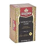 TÉ SULTÁN Chai marroquí, té negro, caramelo y frutas, tés negros herbales (Paquete de 8 - 160 bolsitas de té)