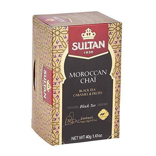 SULTAN TEA Marokkanischer Chai, Schwarztee Karamell und Früchte Kräuter Schwarztees (Packung mit 8 - 160 Teebeuteln)