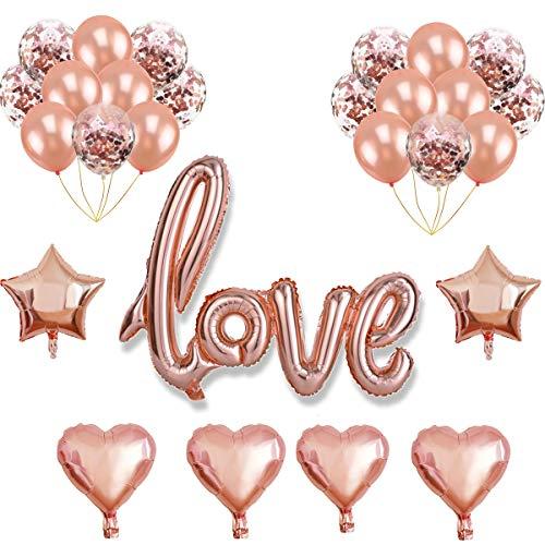 Oumezon Roségold Luftballon Hochzeit Love Luftballons Folienballon Herz Ballon Hochzeit Latex Luftballons Helium für Geburtstag, Brautdusche, Hochzeit, Valentinstag deko