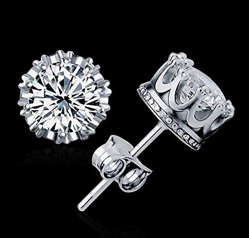 ARMAC Pendientes brillantes de diamantes de imitación de corona de circonita, joyería exquisita