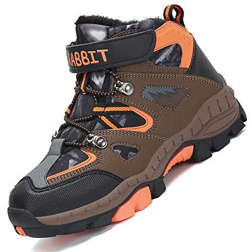 Mishansha Botas de Senderismo para Niños Calor Invierno Zapatillas de Trekking Botas de Montaña Impermeables Botas para la Nieve Resistente al Desgaste, Naranja 34