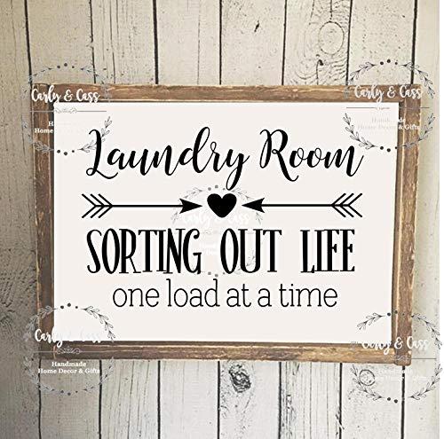 LynnYo22 - Cartel de Madera para lavandería o Sala de lavandería con Texto en inglés Laundry Room, Estilo Granja, Cartel rústico