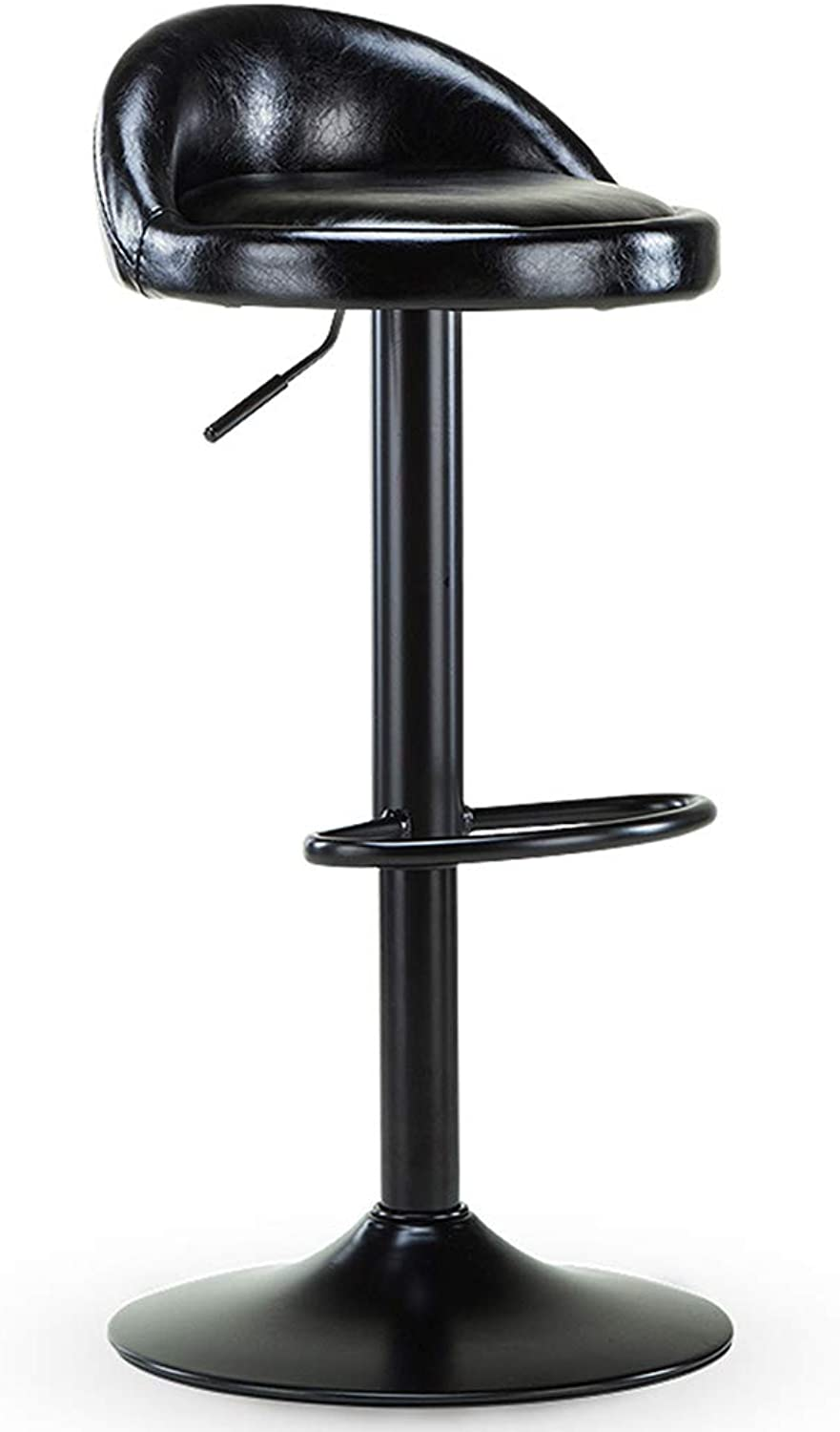 Barstools - Kitchen Breakfast Chair Leather Adjustable Gas Lift Chrome Footstool and Bar Counter Or Home Base 0506A (color   Black, Size   41.5cm)