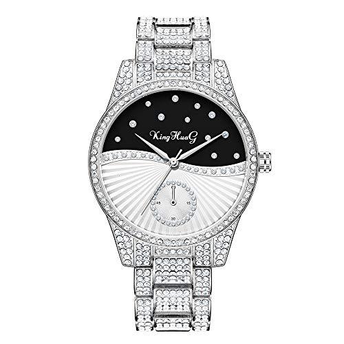 WWANG Reloj de Mujer Lleno de Diamantes Reloj de Cuarzo Resistente al Agua con Pulsera de eslabones de Acero Inoxidable