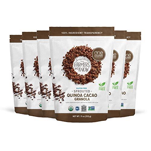 One Degree Organic Foods Sprouted Oat Quinoa Cacao Gluten Free Granola - USDA Organic, Vegan (11 oz. - 6 pack)