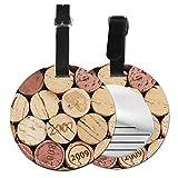 Etiquetas de Equipaje de Cuero Sintético Identificación de Nombre con Cubierta de Privacidad Trasera para Maleta de Viaje Pila de Corcho de Vino Pila de Corchos de Vino