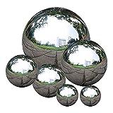 Edelstahl Gartenkugel, polierte Spiegel Hohle Kugel, Nahtlos Gazing Kugel Reflektierende Garten Kugel 6 Stück