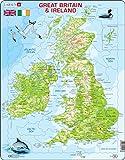 Larsen K5 Mapa físico de Gran Bretaña e Irlanda, edición en Inglés, Puzzle de Marco con 80 Piezas