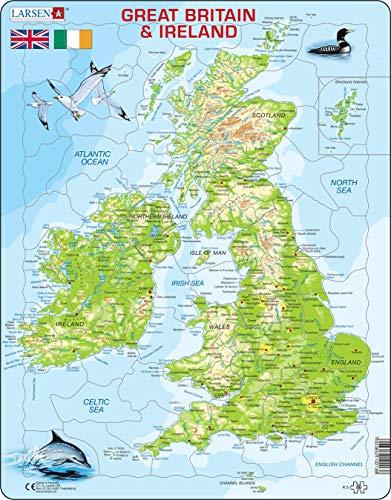 K5 Mapa físico de Gran Bretaña e Irlanda, edición en Inglés, Puzzle de Marco con 80 Piezas