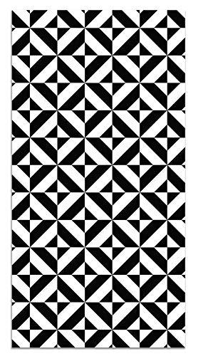 Panorama Alfombra Vinílica Geometría Negro 80x150 cm - Alfombra Cocina Vinilo - Alfombra Salón Antideslizante, Antihongos e Ignífuga - Alfombras Grandes - Alfombras PVC