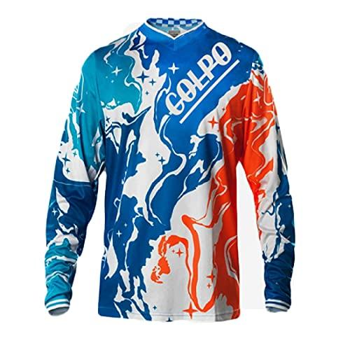 PIWMKV Camisetas de Ciclismo para Hombre Camisetas de Manga Larga para Bicicleta de montaña Camisetas de Ciclismo Camisetas de Manga Larga para Motocicleta de Fondo y para montaña