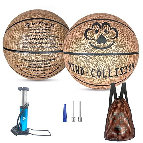 (2 Piezas) Kit De Baloncesto De Letras, Cumpleaños, (5 + 7), Cuero Suave, Adecuado para Hermanos, Hermanos, Hermanas, Gemelos, Niños Niños,Brown a Package