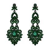 EVER FAITH Mujer Cristal Austríaco Boda Vintage Estilo Floral Hoja Araña Pendientes Colgante Verde Tono Negro