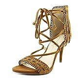 Jessica Simpson Mareya Spice Brown Fringe Ankle Tie Single Sole Sandal (7.5)
