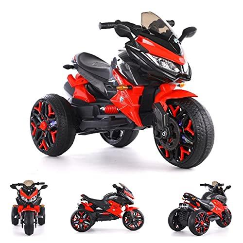 ES-TOYS Triciclo 5118 – 2 baterías de 6 V 4,5 A, 2 motores + barnizado (rojo)