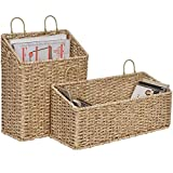StorageWorks Hand-Woven Imitation Wicker Hanging Baskets, Storage Baskets for Bathroom, Hanging Wall Storage Baskets, Magazine Racks for Home Office, Shortbread Yellow, 2-Pack