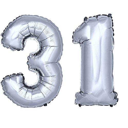 DekoRex® Folienballon Zahlenballon Heliumballon Luftballon Geburtstag Deko 120cm Zahl Silber 31