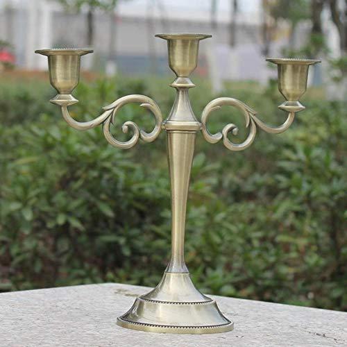 Zilver/Goud/Brons/Zwart 3-Arm Metalen Kandelaars Kandelaar Bruiloft Decoratie Stand Mariage Woondecoratie Kandelaar, Brons-3 armen