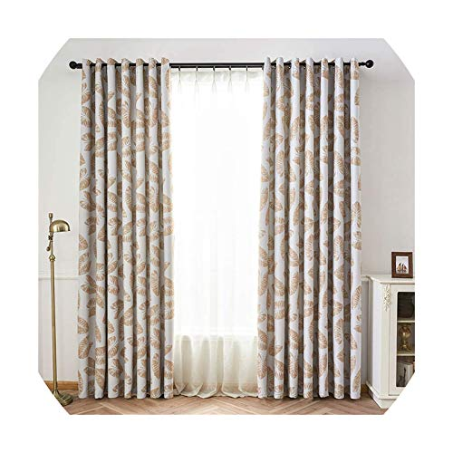 Microfiber Curtains Small Fresh Banana Leaf Home Bedroom Living Room Blackout Window Treatments 1 Pack