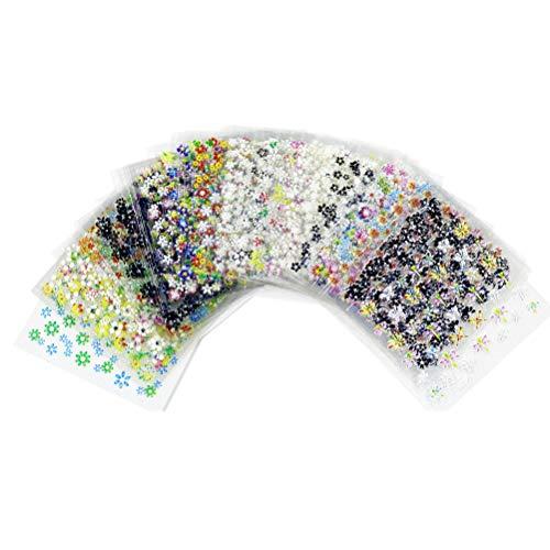 nuoshen 50 Feuilles 3D Design Stickers Ongles, Nail Art Autocollant Multicolore 3D Design Auto-adhésif pour Bricolage Autocollant à Ongles
