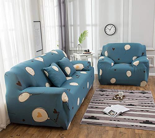 Funda de sofá de 3 Plazas Funda Elástica para Sofá Poliéster Suave Sofá Funda sofá Antideslizante Protector Cubierta de Muebles Elástica Patrón de Globo Azul Funda de sofá