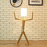GaLon Lampada da Terra Moderna Creativa con Paralume per Soggiorno in Legno casa Decorativa Alta Lampada da Terra Regolabile in Piedi Leggera Altalena 110 cm Design Unico lampade da Uomo Fai da Te