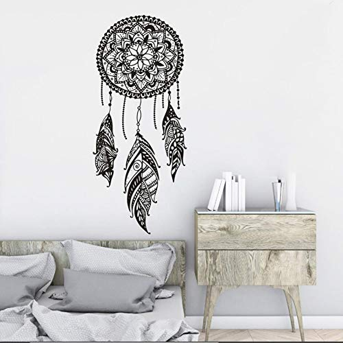 LSMYM Dreamcatcher Adesivo murale in vinile Indiano per camera da letto Mandala Adesivo bohemien Sogno di piume Murale rosso 25X57cm
